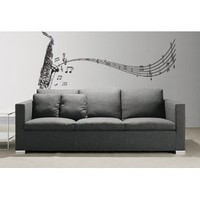"Stickerbrand© Music Vinyl Wall Art Saxophone w/ Music Notes Wall Decal Sticker - Black, 72"" x 31"". Easy to Apply & Removable. Includes FREE Application Squeegee"