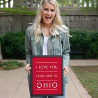 OHIO State Wall Poster | Gift Idea | HopSkipJumpPaper