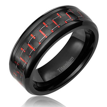 8MM Titanium Ring Wedding Band Black Plated with Black and Red Carbon Fiber Inlay | FREE ENGRAVING