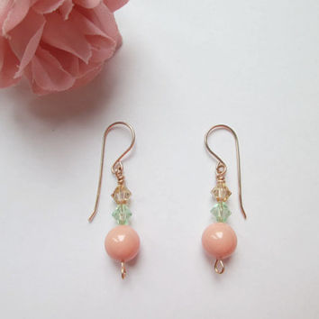 Ladies Jewelry Bridal Earrings Womens Wedding Wire Wrapped Jewelry Rose Gold Earrings Pink Coral Swarovski Crystal Pearl Earrings