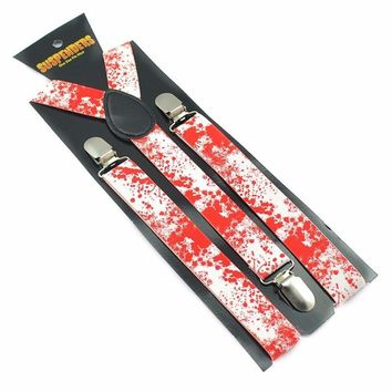 "Crazy Red/White Splatter Halloween Vampire Blood Clip on Suspenders 2.5cm (1"") Width"