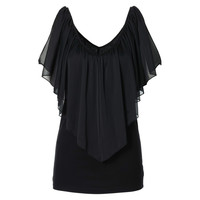 Casual Women Ladies Loose Chiffon Vest Shirt Round Neck Loose Tops
