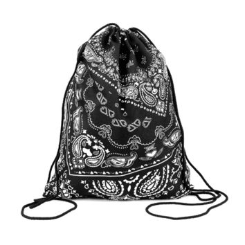 Drawstring Backpack in bohemian pattern in black color for Cinch sack