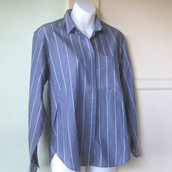 "French Blue 1980s Striped Shirt - White-Stripe Day/Career Shirt; Men's 42"" Chest - Blue Vintage 'Boyfriend' Shirt"
