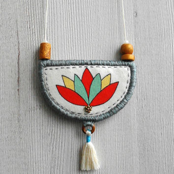 Lotus necklace, pendant flower necklace long, tassel necklace textile jewelry painted pendant fabric necklace tassel jewelry floral necklace