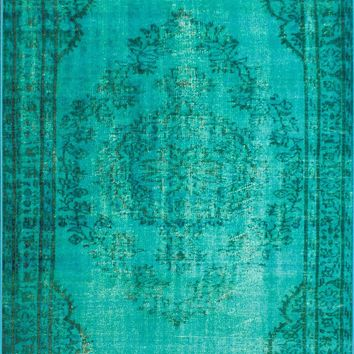 nuLOOM Turquoise Vintage Inspired Overdyed DIRE1D Area Rug