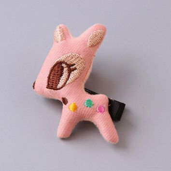 1PC Cute Cartoon Animals Safety Hair Clips Pink Giraffe Rabbit Children Hair Ornament Girls Hairpins Headband Hair Accessories