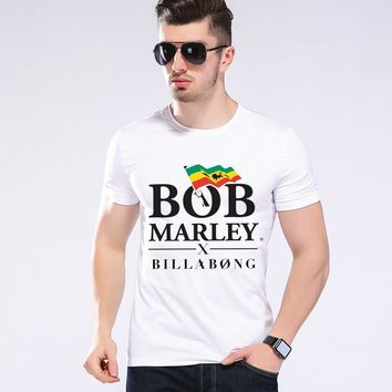 Summer Funny Style Men Tees Bob Marley Letter Design Print Brand Clothing Hip Hop T Shirt  Hhipster Men Short T Shirt  L9-A4
