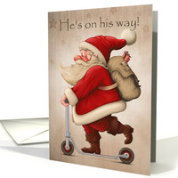 Santa on Scooter with Backpack for Cute Christmas Card