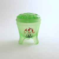 Vintage Glass Frog Flower Holder Green Glass Garden Decor