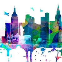 Las Vegas Watercolor Skyline Cityscape Art Print Sticker - 51.2 x 19.7 Inches | 130 x 50 cm