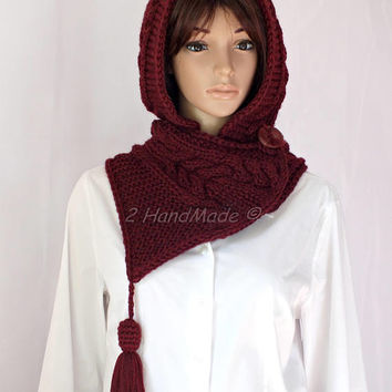 OOAK Bordo Wine Hand Cable Knit Hooded Boho Style Hooded Hat Scarf Pure Merino Wool Yarn Pom Pom Hat Hood Chunky Cowl Winter Xmas