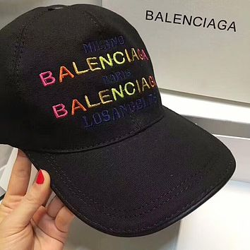 BALENCIAGA High Quality Popular Women Men Embroidery Sports Sun Hat Baseball Cap Hat Black