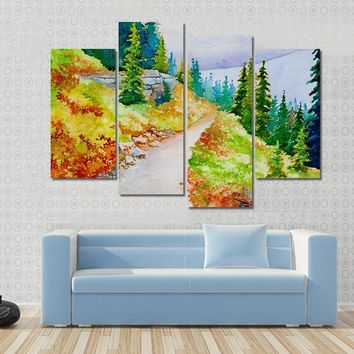 Watercolor Painting Inspired By The Beautiful Mountain Multi Panel Canvas Wall Art