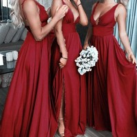 Burgundy Deep V Neck Split Bridesmaid Dress A Line Sleeveless Backless Prom Gown G2352