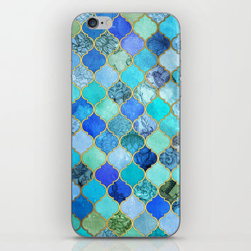 Cobalt Blue, Aqua & Gold Decorative Moroccan Tile Pattern iPhone & iPod Skin by Micklyn