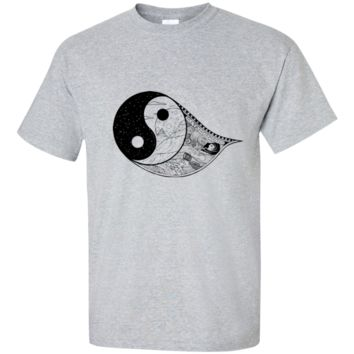 Gothic Yin-Yang, Sky, Mountains And Parchment Tall Ultra Cotton T-Shirt