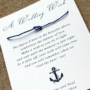Nautical Wedding Favors, Navy Blue, Sailor Themed Wedding, Wedding Wish Bracelet, Tying the Knot wedding favors, set of 30 Guest Gifts
