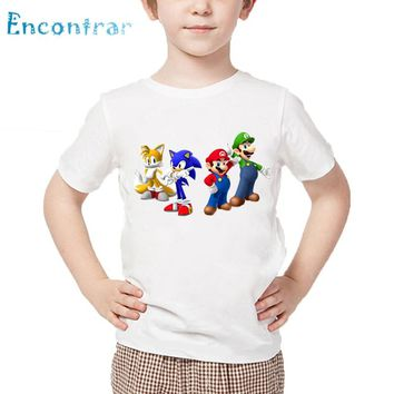 Children Cartoon Sonic The Hedgehog With Mario T shirt Kids Funny Clothes Baby Boys/Girls Casual Summer Tops,HKP5135