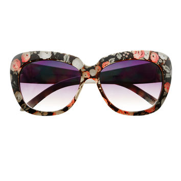 Cute Flower Print Large Oversized Retro Cat Eye Sunglasses C1420