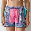 Vintage Mixed Print Drawstring Shorts