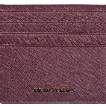 MICHAEL KORS WOMEN'S GENUINE LEATHER WALLET CREDIT CARD NEW BORDEAUX EE6