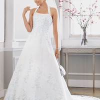 Petite Satin Gown with Beaded Lace - David's Bridal