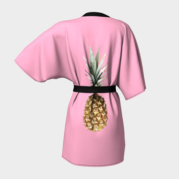 Kimono robe Beach robe Wedding robe Classic house robe Love robe Comfort robe Stylish robe Luxury style with big fresh pineapples print