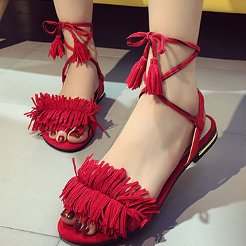 Shoes Women Sandals Summer New Sweet Tassel Buckle Zapatos Mujer Sweet Flat Toe Wedge Floral Straps Red Heels Shoes 2017 Gift