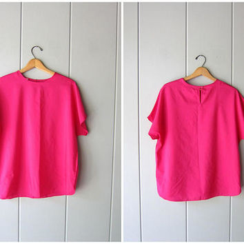 Vintage 80s Magenta Pink Poly Top Minimal Tee Blouse Boxy Cap Sleeve Slub Shirt Modern Slouchy Basic Look Shirt Oversized Womens Large