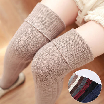 2016 New Arrival Cheap Fashion Woman Wool Braid Over The Knee Socks Sexy Long Thigh High Stockings Twist Warm Winter#08