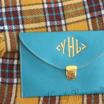 Teal Clutch Purse with Detachable Chain ,Monogram Gifts, Bridesmaid Gift, Christmas Gift Under 30 Dollars
