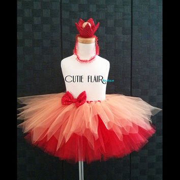 "Girls Tutu Skirt Set - Elmo Tutu set - Tutu skirt and Crown headband -  Birthday tutu - Sewn 10"" Tutu - size 2T - Ready to Ship!"