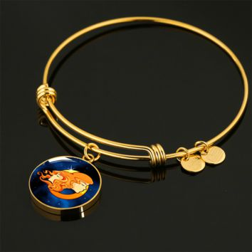Zodiac Sign Gemini - 18k Gold Finished Bangle Bracelet