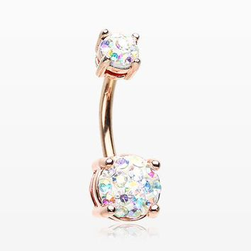 Rose Gold Multi-Gem Sprinkle Sparkle Prong Set Belly Button Ring