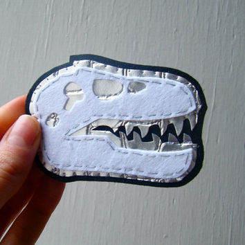 Felt and Fake Leather Brooch  White and Silver by CandyBandits