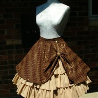 Custom Steampunk Ruffle skirt with drawstring by crescentwench