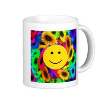 Cool Flowers Smiley Face Mug