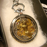 Clockwork Mermaid Steampunk Pocket Watch Pendant Necklace -Made with Real Watch Parts (2210)