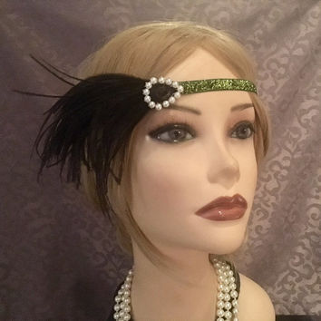 1920's Style Black Green Pearl Sparkly 20s Inspired Headpiece Art Deco Headband Adjustable Gatsby Prom Halloween Head Band Headress  (721)