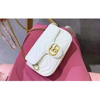 GUCCI hot seller of stylish ladies' double G shopping casual shoulder bag White
