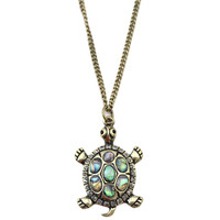 Vintage Etched Multicolor Turtle Pendent Necklace
