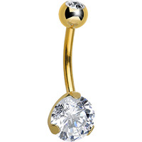 CZ Clear Gold Titanium IP Belly Ring | Body Candy Body Jewelry