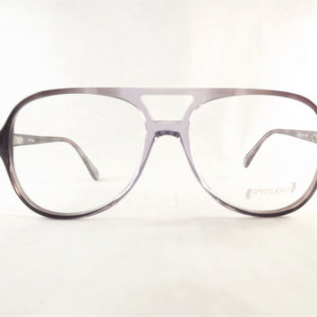 Aviator Eyeglasses, Grey 2 Tone Glasses, Flexible Temple Arms, New Old Stock Vintage Frames