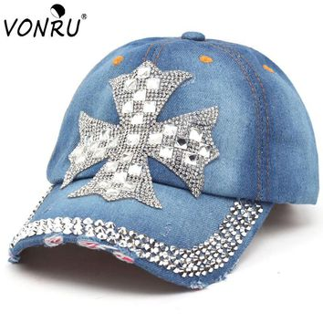 VONRU Womens Cross Rhinestone Baseball Cap Bone High Quality Cotton Denim Snapback Cap for Female Summer Sun Hats
