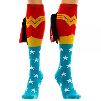 DC Comics Wonder Woman Knee High Shiny Cape Socks