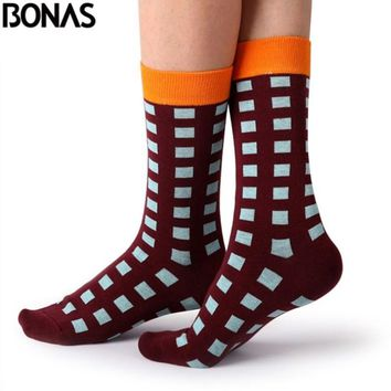 Bonas Printing Cotton Socks Women Trendy Cute Kawaii Casual Hosiery Men Socks Ladies Autumn Winter Art Hot Sox Chaussettes