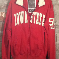 Vintage collectible Iowa State Cyclones red zippered sweatshirt. Size SMALL by Colosseum Athletics in Los Angles. Nice vintage letter embel