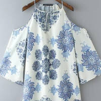 Cream Blue Floral Chiffon Off-Shoulder Mini Dress