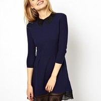 ASOS Knit Skater Dress With Lace Collar